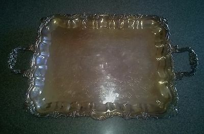 """Vintage Sheridan Silver-plated Footed Serving Tray/Platter with Handles 20""""X 16"""""""