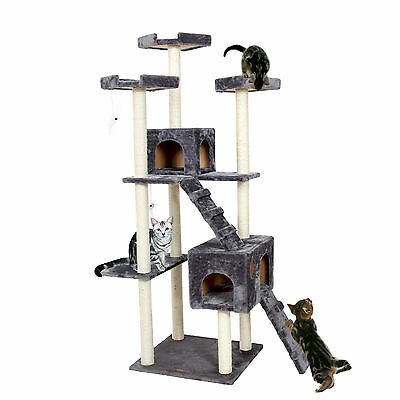 Grey Cat Tree Condo Furniture Scratch Tower Kitten Pet Play House Cat Toy 182cm