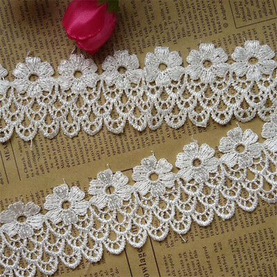 1 yard Vintage Flower Lace Edge Trim Wedding Bridal Ribbon Applique Sewing Craft