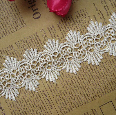 1 yd Vintage Embroidered Lace Edge Trim Wedding Ribbon Applique DIY Sewing Craft