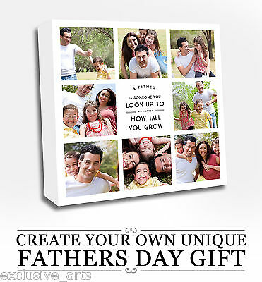 Fathers Day Collage Canvas Photo Picture Gift - Personalised Look up to