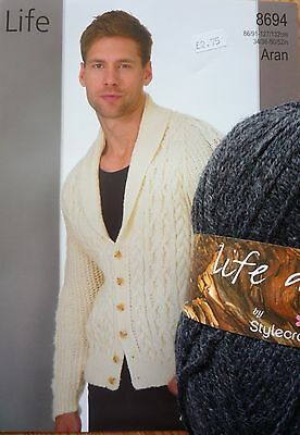 Gents Aran Jacket with Buttons Knitting Kit