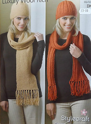 Ladies DK Cabled Hat & Scarf Knitting Kit