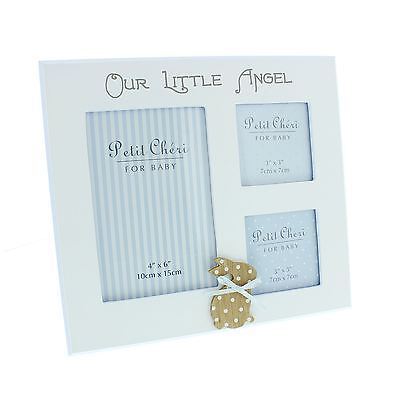 Petit Cheri For Baby Multi White Photo Frame Our Little Angel with Rabbit Blue