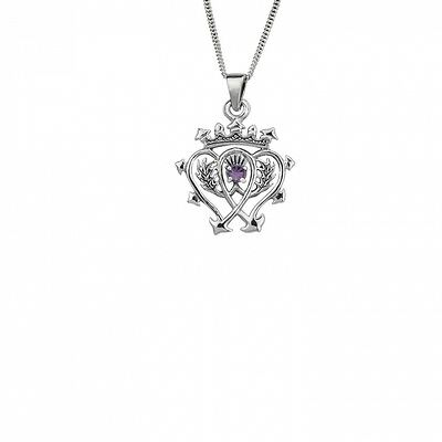 SCOTTISH LUCKENBOOTH STERLING SILVER PENDANT WITH AMETHYST STONE. Free Delivery