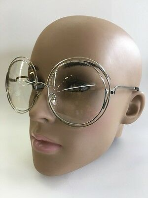 OVERSIZE RETRO VINTAGE Clear Lens EYE GLASSES Large Round Silver/Gold Frame