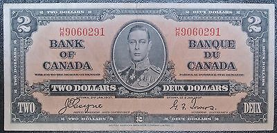 BANK OF CANADA 1937 -$2 BANK NOTE - Prefix H/R - Signed Coyne & Towers - NCC