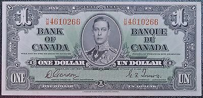 BANK OF CANADA 1937 - $1 BANK NOTE - Prefix H/M - Signed Gordon & Towers - NCC