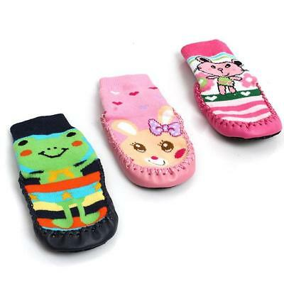 NEW Baby Boy Girl Non-Slip Moccasins Shoe Socks Booties Slippers Kids Socks - DD