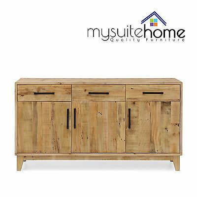 Portland Solid Recycled Pine Timber Storage Buffet Cabinet with 3 Doors/Drawers