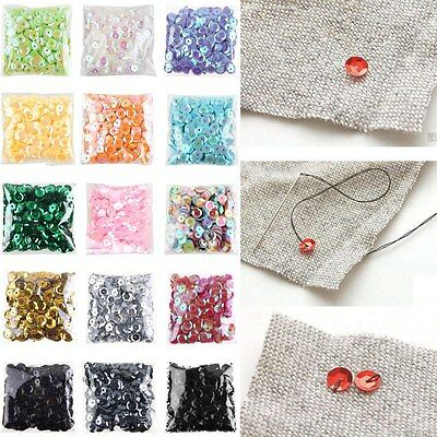 2000pcs 6mm Round Loose Sequins Paillettes Clothes Sewing Wedding DIY Craft