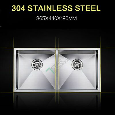 Lead Free Stainless Steel Double Bowls Kitchen Sink Top/Under Mount 865x440mm