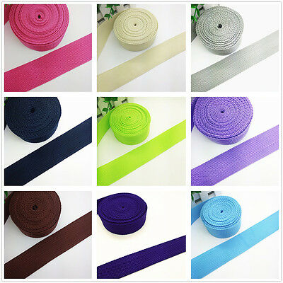 New 2/5/10/50 Yards (25mm) 1 inch Width Strap Nylon Webbing Strapping 22 Color