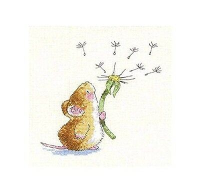 Stamped Cross Stitch Starter Kit- Little Mouse and Dandelion. Brand New