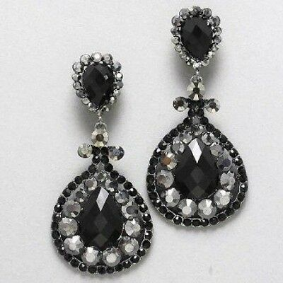 Designer Inspired Hematite Drop Black and Silver Rhinestone Clip on Earrings. Si