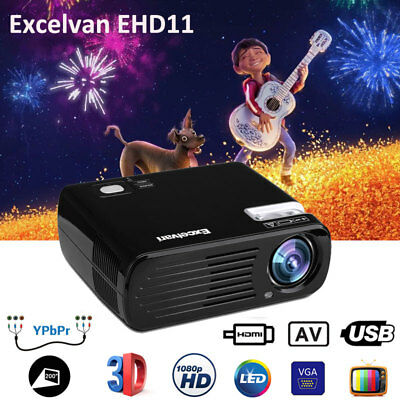 LED 96+ 5000Lumens 1080p HD Home Theater Cinema Projector Video 3D HDMI USB ATV