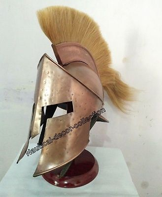 Brass Corinthian Greek Antique Finishing Helmet With Plume By Roman Replica