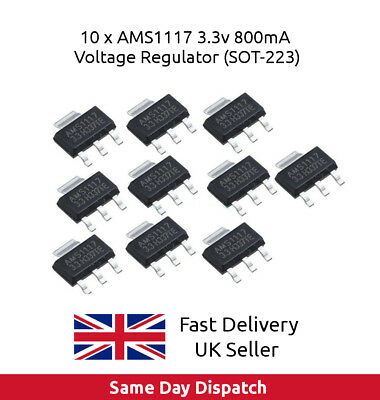 10 x AMS1117 800mA AMS1117-3.3 LM1117 3.3V Voltage Regulator Step Down UK SELLER