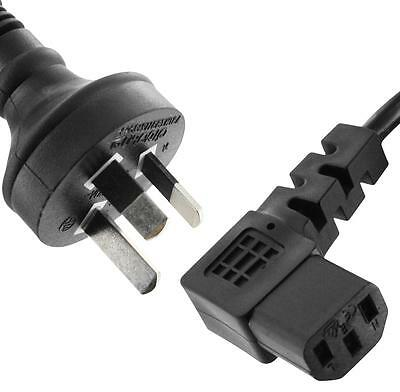 AU 3 Pin IEC Kettle Cord 240V Mains Power Cable Lead PC Tidy Right Angle Plug