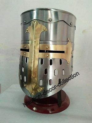 Antique Brass Medieval Armor Crusader Helmet Helm With Mason's Brass Helmet