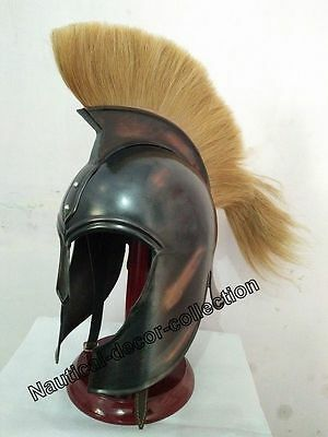 Brass Troy Medieval Greek Armor Helmet Armour Black Antique With Yellow Plum
