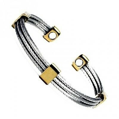 Magnetic Trio Stainless Steel Cable Bangle Cuff Golf Bracelet G. Brand New