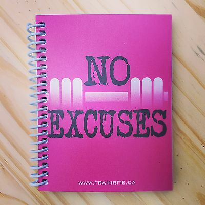 TrainRite Compact Fitness Journal - NO EXCUSES Pink (Workout Log Book)