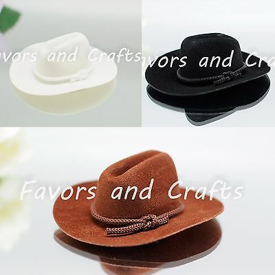 12 PCS Mini Cowboy Hats Western Wedding Party Favors Crafts Brown Black White