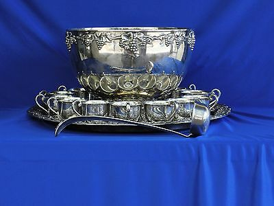 1957 , sterling silver 15 pc. EUGEN FERNER PUNCH BOWL