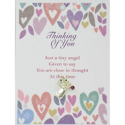 Thinking Of You Guardian Angel Lapel Pin & Inspirational Message Card Gift. Bran
