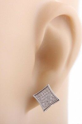 Mens Pair of 925 Sterling Silver Micro Pave Iced Out Silver Square Shaped Stud E