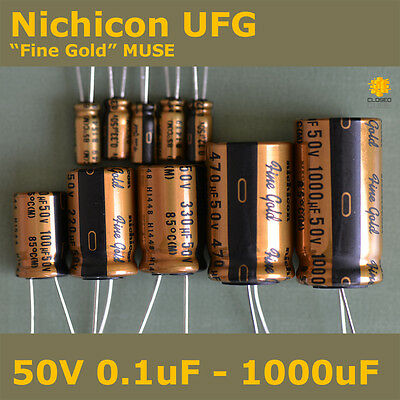 "Nichicon UFG FG ""Fine Gold"" MUSE High Grade for Audio [50V] Capacitors"