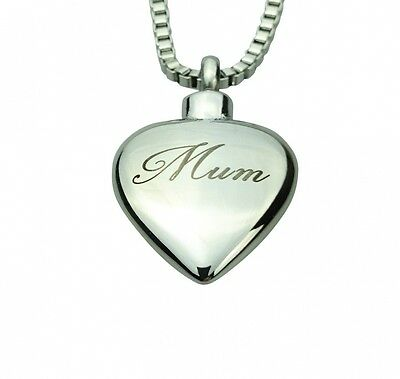 Mum Inscribed Heart Urn Pendant - Memorial Ash Keepsake - Cremation Jewellery. H