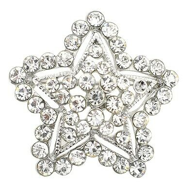 Silver Crystal Star Brooch Pin. Delivery is Free