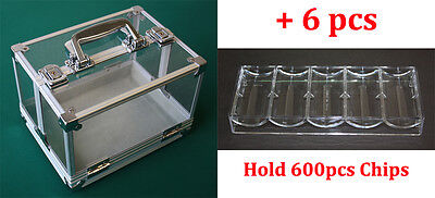 New 600Ct Poker Chip Carrier Plus 6Pcs Chips Tray Clear