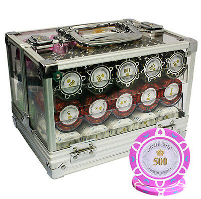 600 14G Monte Carlo Poker Room Clay Poker Chips Set Acrylic Case Custom Build