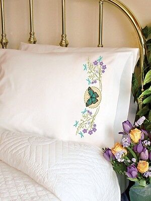 Dimensions 72-73888 Butterfly Meadow Pillow Case, Stamped Cross Stich. Free Deli