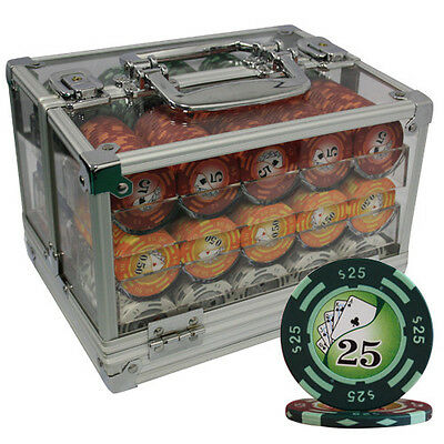 600 14G Yin Yang Clay Poker Chips Set Acrylic Case Y9