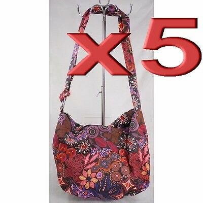 5pc Wholesale Bulk Lots Large Long Canvas Shoulder Crossbody Bag Women Girl Bag
