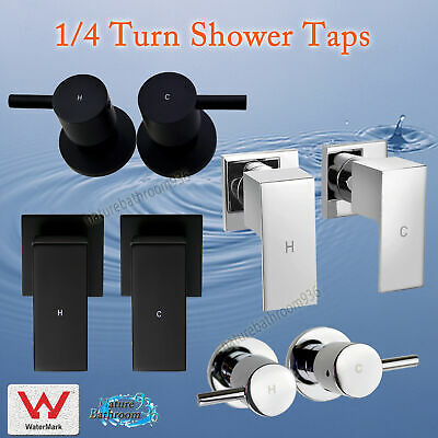 1/4 Turn Quarter Twin Taps Chrome / Matt Black Square / Round Wall Shower Set