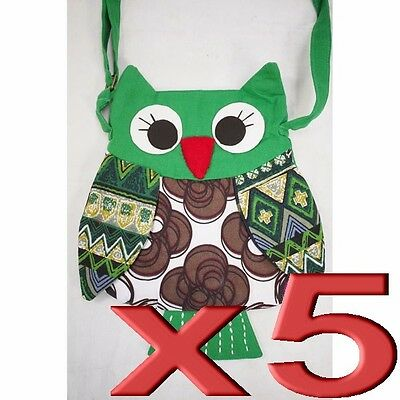 5pc Wholesale Owl Cotton Patchwork Long Shoulder Crossbody Bag Lady Girl Handbag
