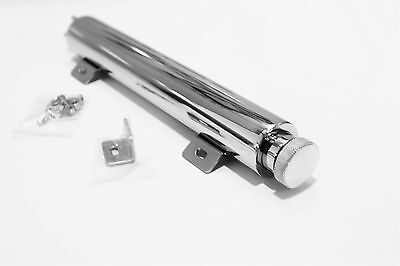 Radiator Over Flow Tank 13X2 Inches Highly Polished + Brackets & Fitting Hot Rod