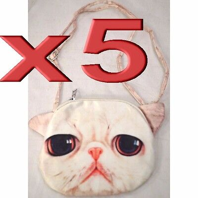 5pc Wholesale Long 3D Cat Face Shoulder Crossbody Bags Lady Girl Handbag