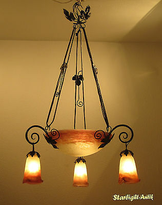 Beautiful  French Art Deco Chandelier 1925 - Signed: Muller Frès Luneville