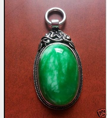 Old Collectible China Miao Silver Mosaic Jade Handwork Carving Necklaces Pendant