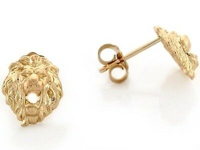 14k Yellow Gold 0.8cm Lion Head with Open Mouth Pin Earrings. Free Shipping