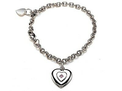 Sterling Silver Children Heart Charm Bracelet with Pink Sapphire LIFETIME WARRAN