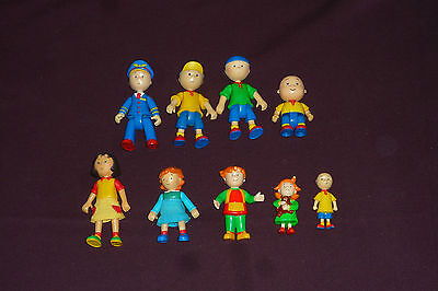 Rare Irwin 2002 Caillou Jointed Poseable Figure Lot of 6 + 3 Mini PVCs