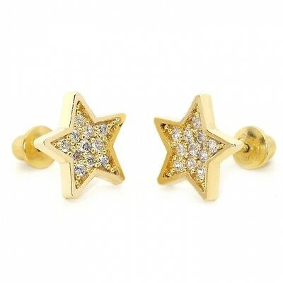 14k Gold Plated Baby Star Pave Children Screwback Earring With 925 Silver Post B