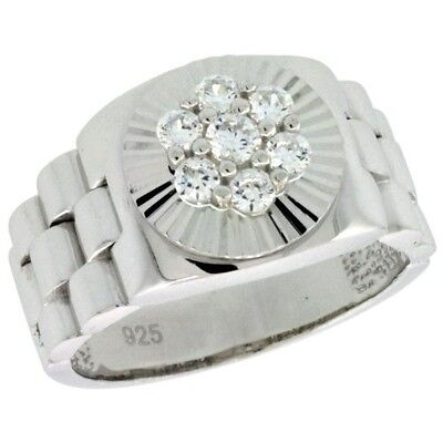 Sterling Silver Men's Rolex Watch Band Style Ring w/ Clustered CZ Stones, 1/2 in
